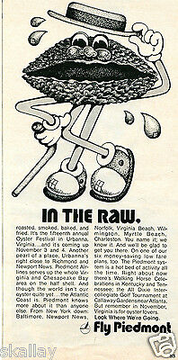 1972 Print Ad of Piedmont Airlines In The Raw Oyster Festival Urbanna Virginia