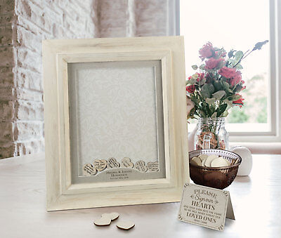 PERSONALISED WEDDING GUEST BOOK FRAME DROP BOX WISHES for signing hearts guests