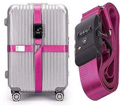 CSTOM (Pink) TSA Lock Adjustable Heavy Duty Cross Luggage Strap Suitcase Travel