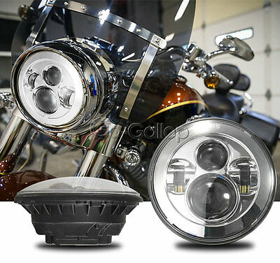 7'' Chrome Round Projector Daymaker HID Hi/Lo LED Headlight For Harley-Davidson
