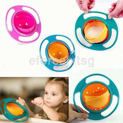 360 Rotate Universal Spill-proof Bowl Dishes Practical Baby Kids Dinner Plate US