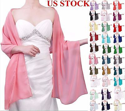 US STOCK Chiffon Bridal Bridesmaid Wedding Prom Party Shawl/Stole/Wrap/Scarf New