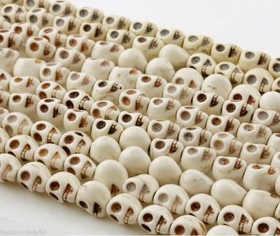 30 PCS White Turquoise Skull Head Howlite Spacer Loose Beads Charms