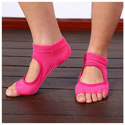 Pink Women Yoga Non-Slip Pilates 5-Toe Half Massage Exercise Sports Gym Fast AU