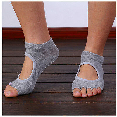 Grey Women Yoga Non-Slip Pilates 5-Toe Half Massage Exercise Sports Gym Fast AU