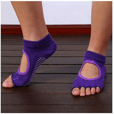 Purple Women Yoga Non-Slip Pilates 5-Toe Half Massage Exercise Sports Gym AU