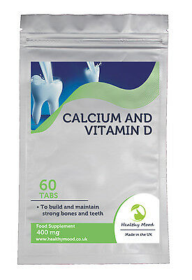 Pure Calcium and Vitamin D3 400mg Food Supplement 30/60/90/120/180 Tablets Pills