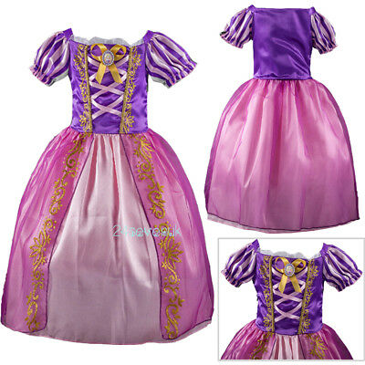 Girls Kids Rapunzel Tangled Fancy Dress Up Fairy Classic Princess Costume Outfit