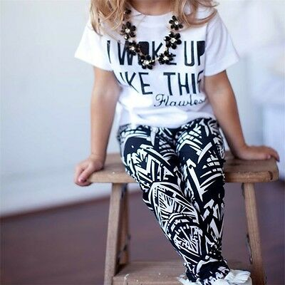 New Kids Baby Girls Outfits Clothes Letter White T-shirt + Pants 2PCS Set GT