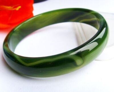 Beloved Natural beautiful green jade bracelet bangle big size 70mm +box