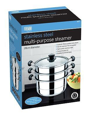 28Cm Stainless Steel 4Pc Steamer Cooker Pot Set Pan Cook Food Glass Lids 3 Tier