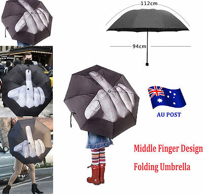 Creative Personality Fashion Middle Finger Design Folding Umbrella Black BO