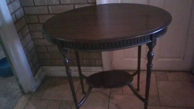 Victorian or Edwardian two tier Oval hall occasional table solid mahogany