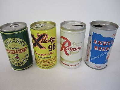 Beer cans lot of Four (4) Lucky 96 Carlings Red Cap Rainier Andy's Beer