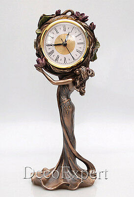 clock with roses Art Nouveau fireplace clock * * * Free Air Shipping Everywhere
