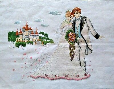 "NEW Finished completed handmade Cross stitch needlepoint""WEDDING""decor gifts"
