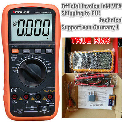 VC97 Victor Digital Multimeter 3 3/4 mit Ture RMS inkl. Thermometer aus DE
