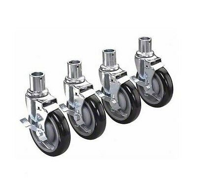 "Krowne Metal Universal Wire Shelving Caster 5"" Wheel With Brake Set Of 4 - 28-15"