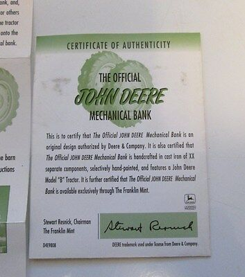 Coa And Paperwork For John Deere Mechanical Bank From The  Franklin Mint