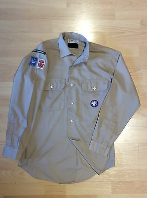 """UK Scouts Youth Long Sleeve 14.5"""" Collar inc original badges fantastic condition"""