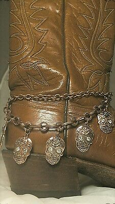 Day of the Dead Sugar Skull Boot Chain FREE GIFT BOX Western Cowgirl