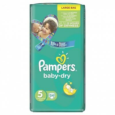 Pampers Baby Dry Size 5 Large Pack, 54 Nappies. Delivery is Free