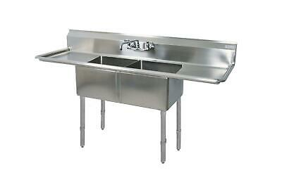 """BK Resources Two 16""""x20""""x12"""" Compartment Sink S/s Leg 18"""" Drainboard L&R"""