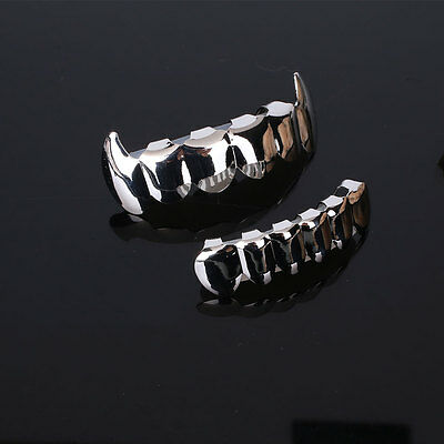 Hip Hop Gold Plated Mouth Teeth Top Bottom Grill Grillz Bottom Halloween Party
