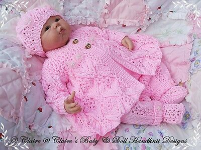 "Babydoll Handknit Designs Knitting Pattern Lacy Pram Set 16-22"" Doll 0-3M Baby"