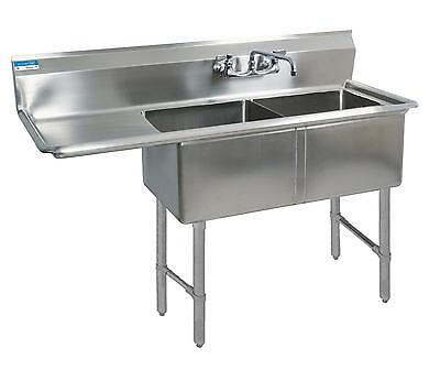 """BK Resources Two 24""""x24""""x14"""" Compartment Sink S/s Leg 24"""" Left Drainboard"""
