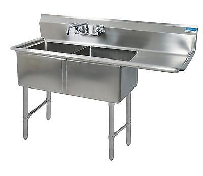 """BK Resources Two 18""""x18""""x12"""" Compartment Sink Drainboard Right - BKS-2-18-12-18R"""