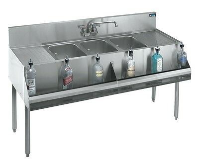 "Krowne Metal 3 Compartment Bar Sink 19""D w/ Two 18"" Drainboards Stainless"