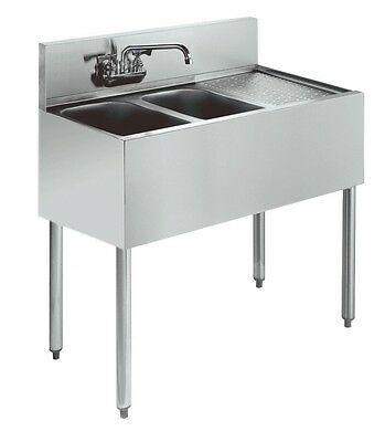 "Krowne Metal Stainless Underbar Sink 2 Compartment 21""D w/ 12"" Drainboard"