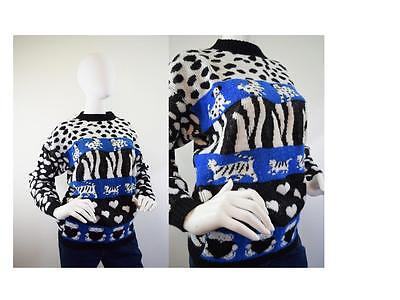 Vintage 80s Novelty Sweater Cats Teddy Bear Heart Dalmation Dogs Size S M