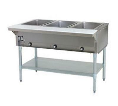 Eagle Group SDHT3 3-Well Stationary Electric Hot Food Table S/S Shelf & Legs