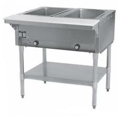 Eagle Group DHT2-1X 2-Well Stationary Electric Hot Food Table & Galvanized Shelf