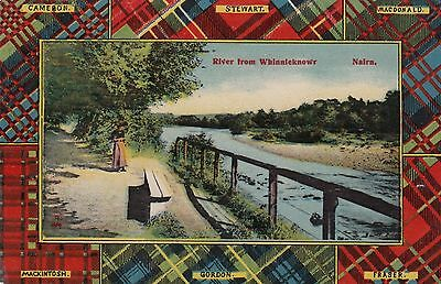 River Nairn from Whinnieknowe with Tartan Clan border unused Postcard 1900s