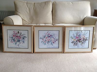 3 Large Mounted / Framed / Glazed Watercolour Prints of Flowers by Celia Russell