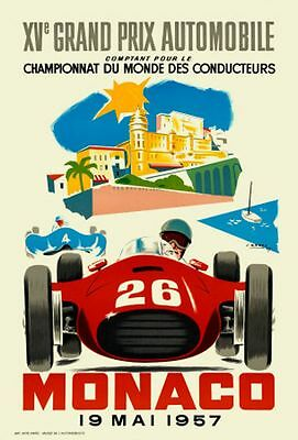Classic Poster Monaco Reproduction Motorsport Print Grand Prix Formula 1 1957 A2