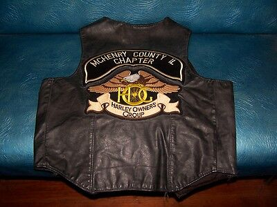 Harley Davidson HOG Leather Vest McHenry County IL Chapter-Size 44 Made In USA