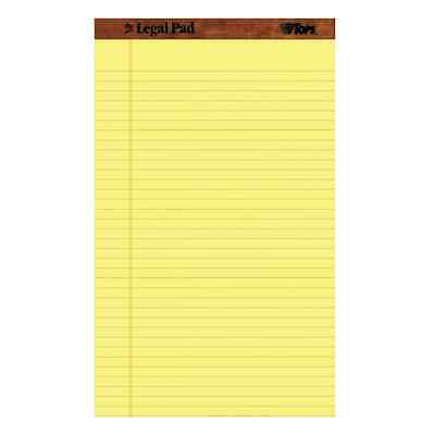 TOPS The Legal Pad Legal Pad, 8-1/2 x 14 Inches, Perforated, Canary, Legal/Wide