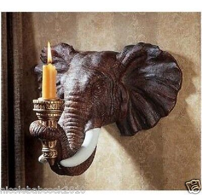 Set Of 2 African Elephant Exotic Wall Sconce Sculpture