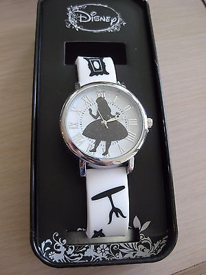 Disney Alice Wonderland Falling White and Black Strap Watch Collectors Tin New!