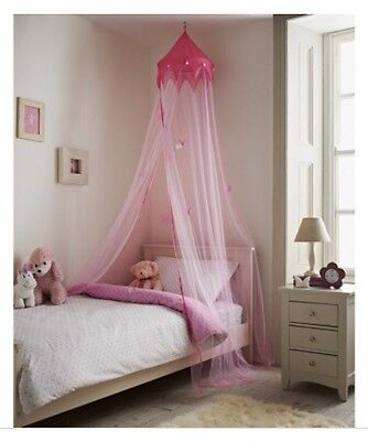 Kids Children Girls Disney Princess Pink Bed Canopy Crown Stars Net Large New