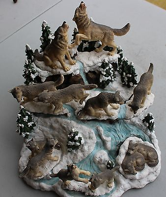 "7 Piece Wolf Figurine Set ""Path of the Wolf""; The Hamilton Collection"