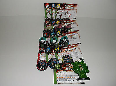 HORRORCLIX 4 Full R.E.V. SETS 1 Rare W/CARDS 10 in game cards &10 game Pogs