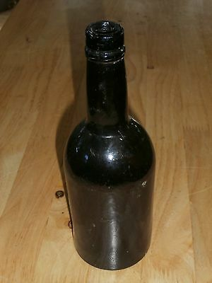 18th Century - Black Glass - Dark Amber - Pontil Bottom - Beer/Ale Bottle
