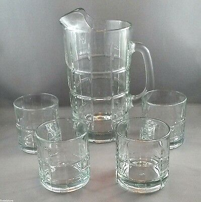 Anchor Hocking Tartan Manchester 56 oz Pitcher and 4 Rocks Glasses 8 oz Clear