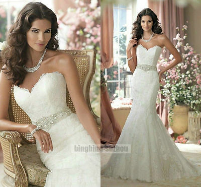 Strapless mermaid lace wedding dress bridal gown formal size custom 2-28 NEW