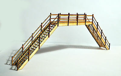 Model Railway foot bridge Scenery Ready Made OO Gauge 1:76 Birch laser cut